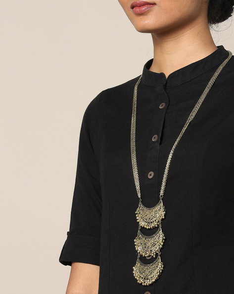 Handcrafted Dual-Toned Tribal Necklace By Infuzze ( Gold )