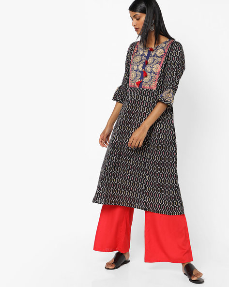 Printed A-line Kurta With Embroidered Yoke By AJIO ( Black )
