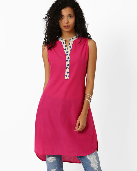 High-Low Kurta With Contrast Taping By AJIO ( Fuchsia )