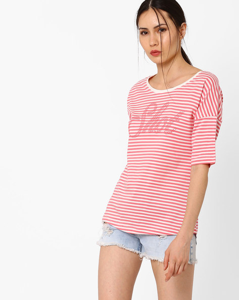 Striped T-shirt With Drop Shoulders By Teamspirit ( Pink )