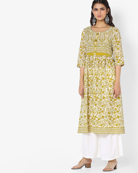 Floral Print Flared Kurta By Melange By Lifestyle ( Green )