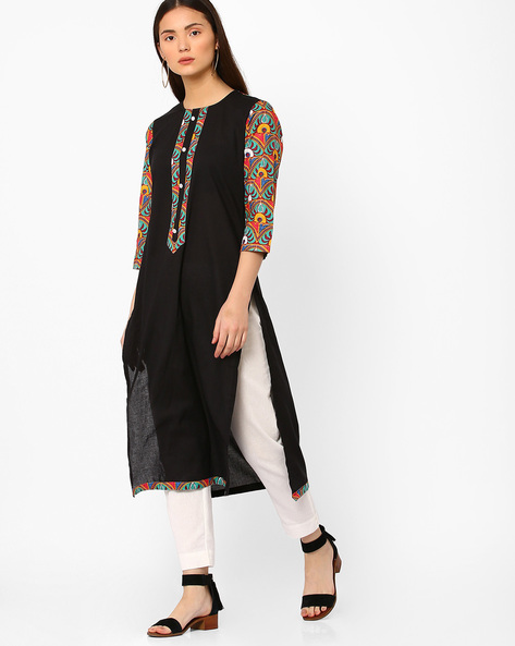 Cotton Straight Kurta By Shakumbhari ( Turquoise )