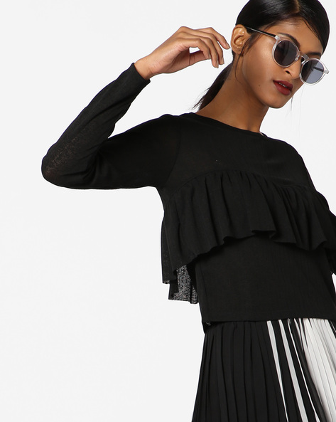 Ribbed Top With Ruffle Panel By Ginger By Lifestyle ( Black )