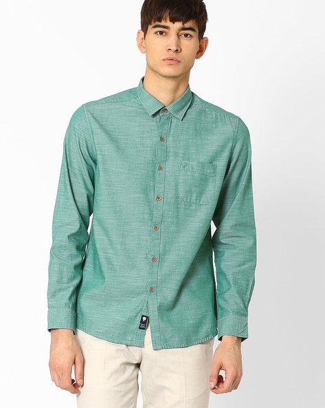 Textured Shirt With Patch Pocket By NETPLAY ( Green )