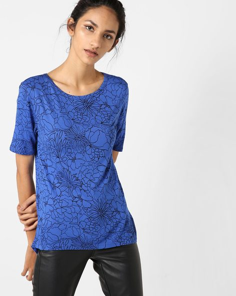 Floral Print Top With High-Low Hemline By UNITED COLORS OF BENETTON ( Blue )