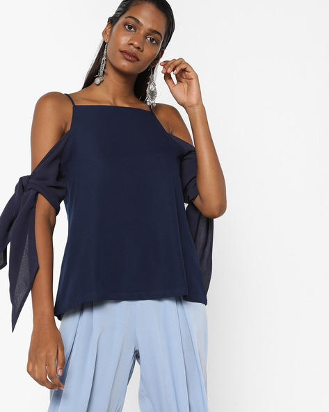 Cold-Shoulder Top With Tie-Ups By Sassafras ( Navyblue )