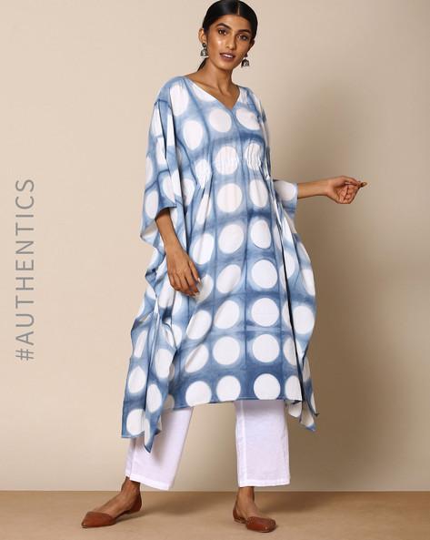 Hand Tie-Dyed Shibori Indigo Cotton Kaftan By ANANDA ( Indigo ) - 460095163002