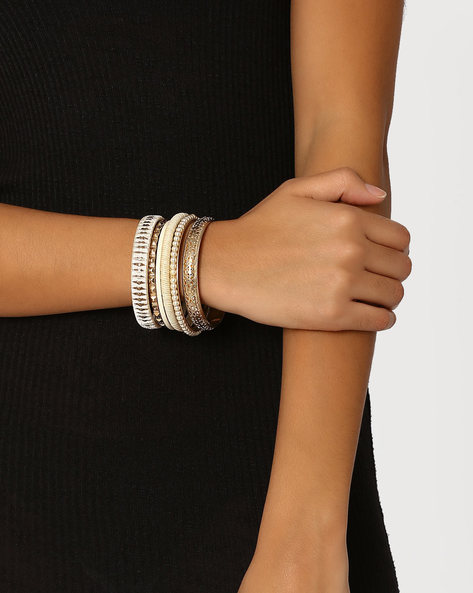 Set Of 6 Bangles By Bauble Beads ( Offwhite )