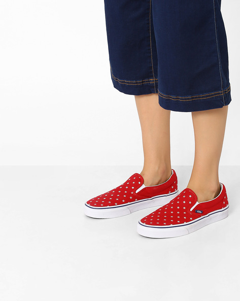 Star Print Slip-On Shoes By Vans ( Red )
