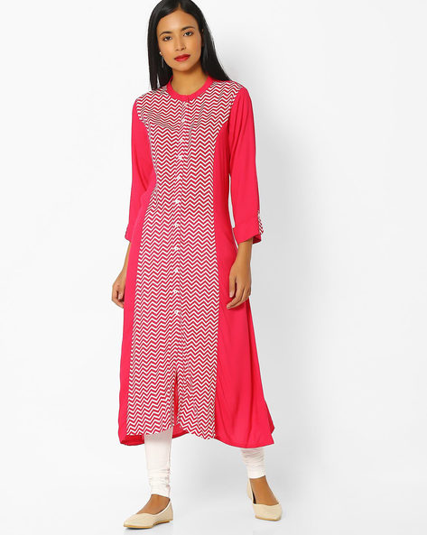 Chevron Print Kurta With Churidar Leggings By AVAASA SET ( Pink )