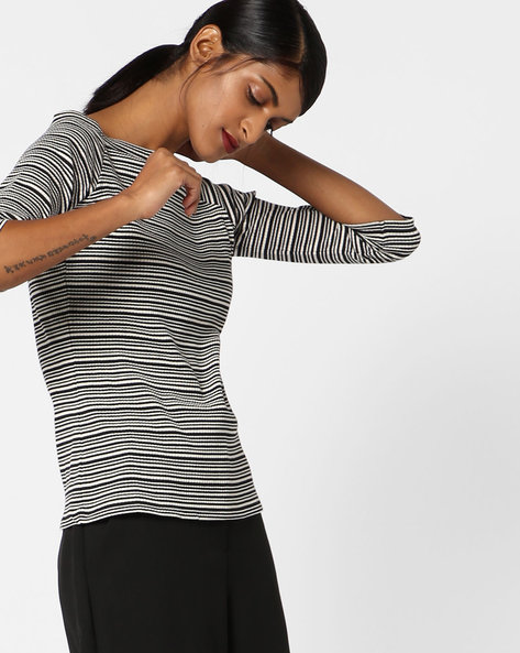 Striped Top With Boat Neck By Ginger By Lifestyle ( Offwhite )
