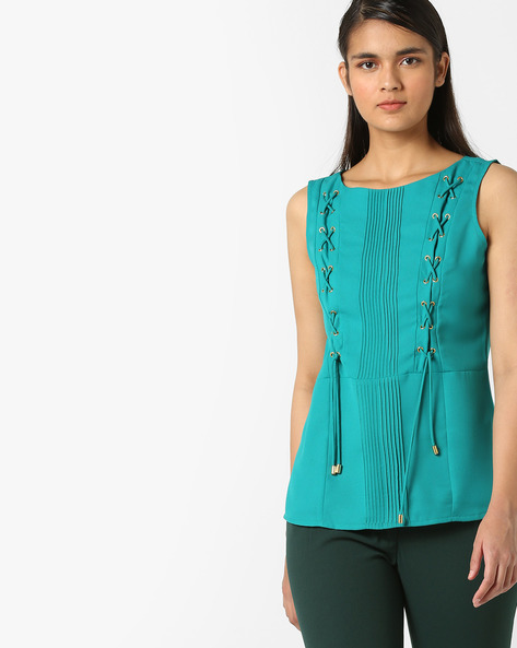 Pleated Top With Criss-Cross Tie-Ups By AJIO ( Teal )