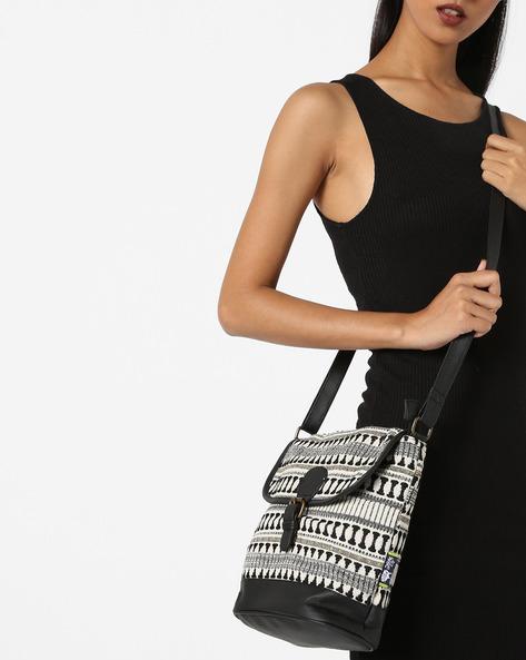 Jacquard Sling Bag By Kanvas Katha ( Black ) - 460124233001