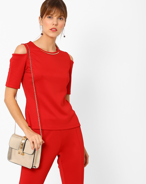 Top With Cold-Shoulder Sleeves By AJIO ( Red )