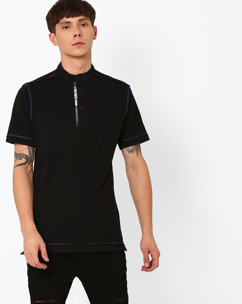 Cotton T-shirt With Band Collar By Fort Collins ( Black )