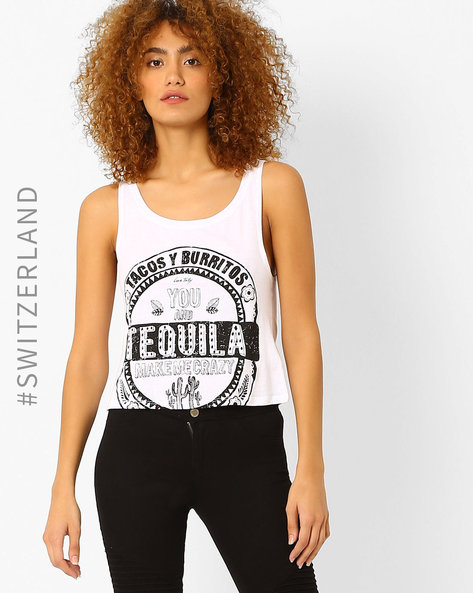 Graphic Print Tank Top By TALLY WEiJL ( White )