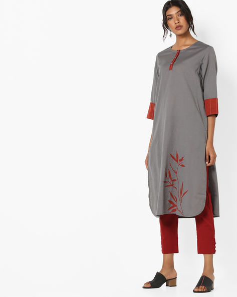 Straight Kurta With Placement Print By AJIO ( Charcoal )