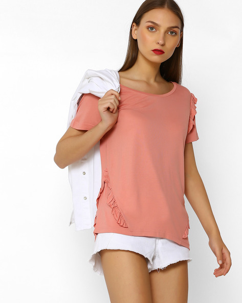 Top With Ruffled Panels By DNMX ( Coral )