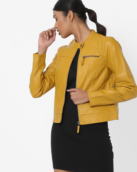 Zip-Front Jacket With Pockets By Vero Moda ( Golden )