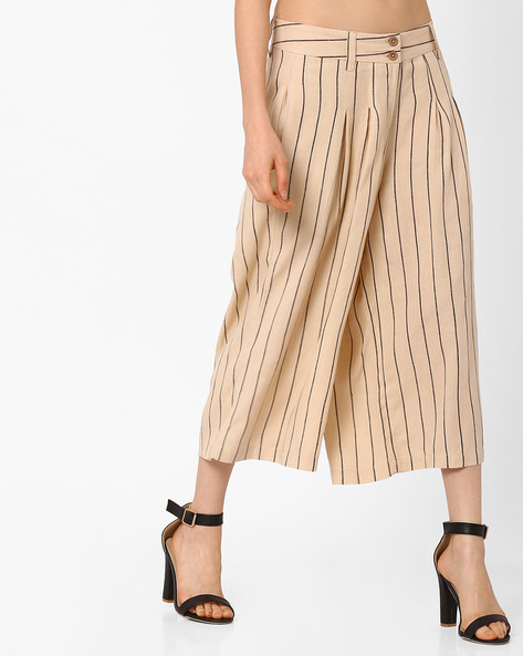 Striped Culottes With Pockets By FIG ( Ltpeach )