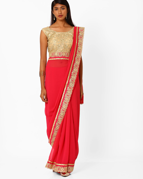 Saree With Contrast Lace Border By Amori ( Red )