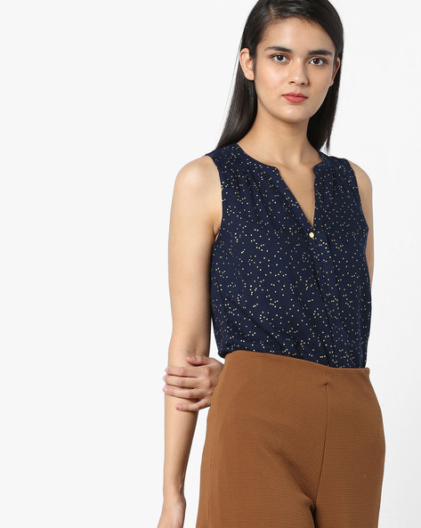 Printed Sleeveless Top By Vero Moda ( Black )