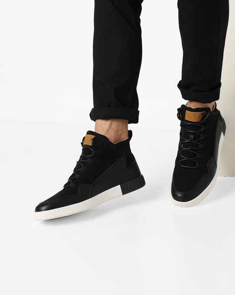 Mid-Top Panelled Sneakers By AERO BLUEZ ( Black )
