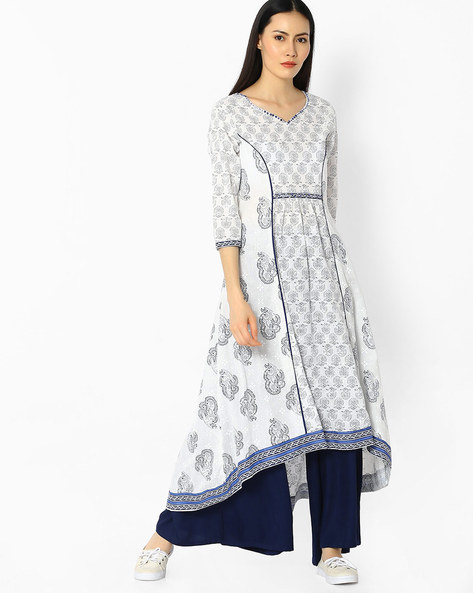 Printed Kurta With Asymmetric Hemline By OVI ( White )