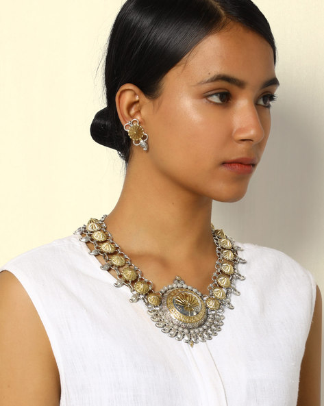 Two-Toned Statement Necklace With Earrings By Indie Picks ( Multi )