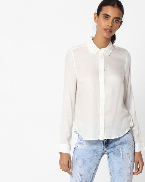 Shirt With Spread Collar By Vero Moda ( White )