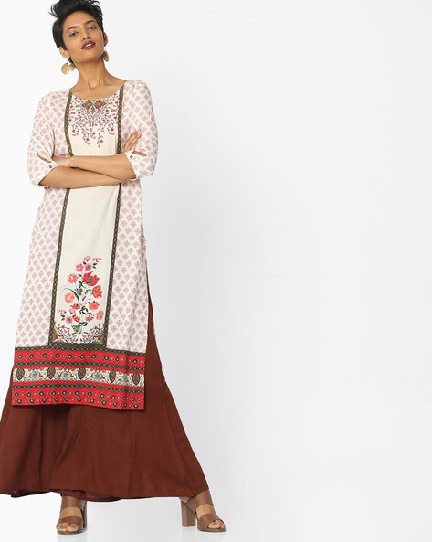 Floral Printed Straight Kurta With Contrast Border By AURELIA ( Red )