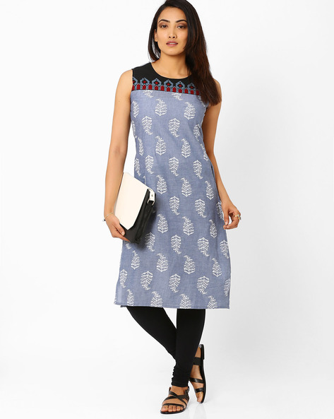 Printed Sleeveless Kurta By AJIO ( Blue )