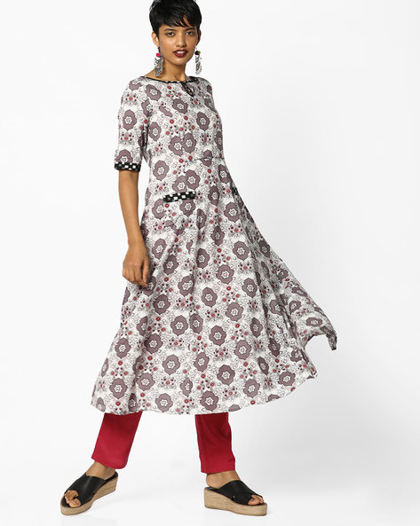 Floral Print Fit & Flare Dress By AJIO ( Offwhite )
