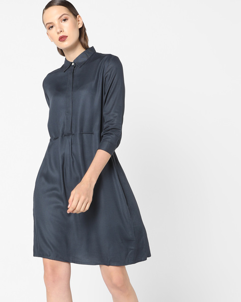 Shirt Dress With Back Waist Tie-Up By AJIO ( Darkgrey )