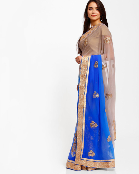 Embroidered Chiffon Saree By Florence ( Blue ) - 460007375001