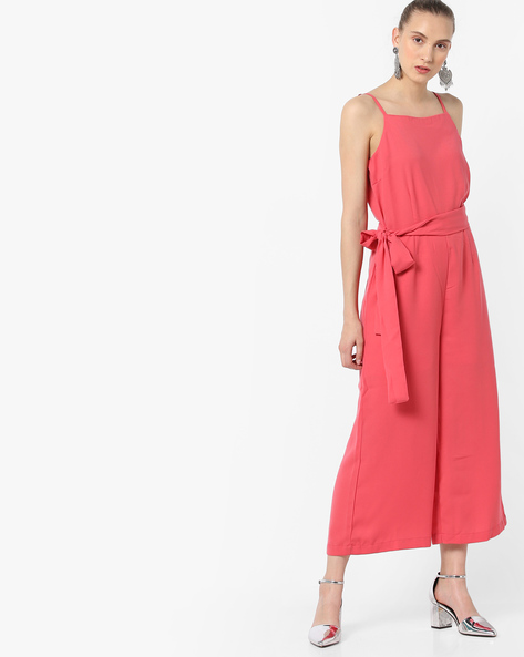 Strappy Jumpsuit With Waist Tie-Up By AJIO ( Pink )