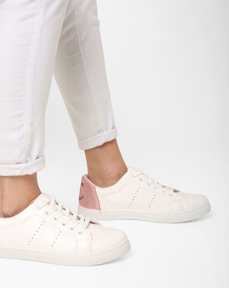 Lace-Up Sneakers With Embellished Panels By Truffle Collection ( White )