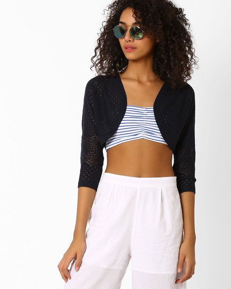 Knitted Shrug With Ribbed Hems By Only ( Blue )