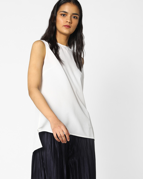Sleeveless Top With High-Low Hem By PE WW Work ( Offwhite )