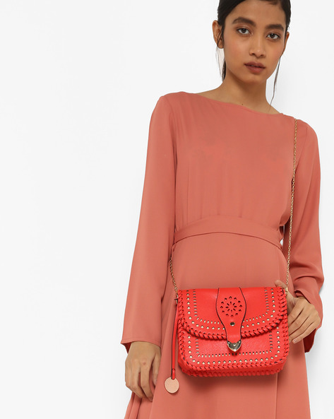 Sling Bag With Cut-Out Detail By Diana Korr ( Red )