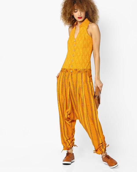 Printed Jumpsuit With Tie-Ups By Desi Weaves ( Yellow )