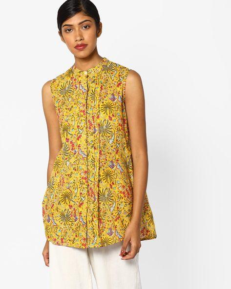 Printed Tunic With Pintucks By Omya ( Yellow )