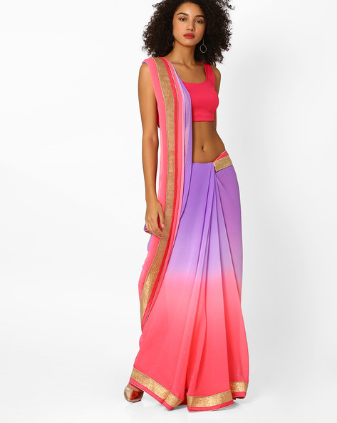 Ombre-Dyed Saree With Contrast Border By Viva N Diva ( Peach )
