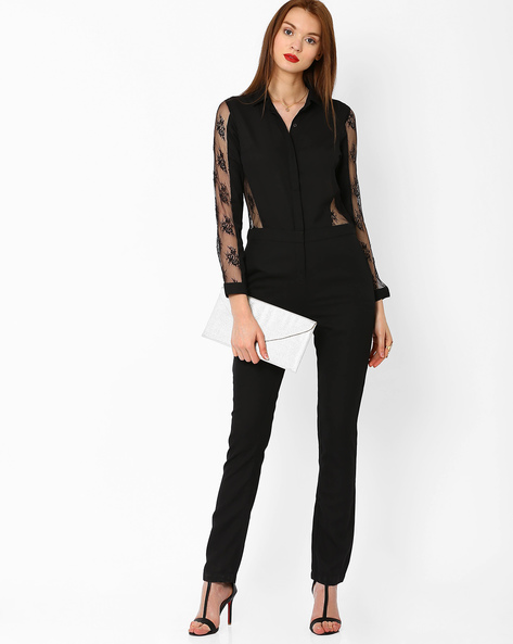 Jumpsuit With Lace Panels By AJIO ( Black )
