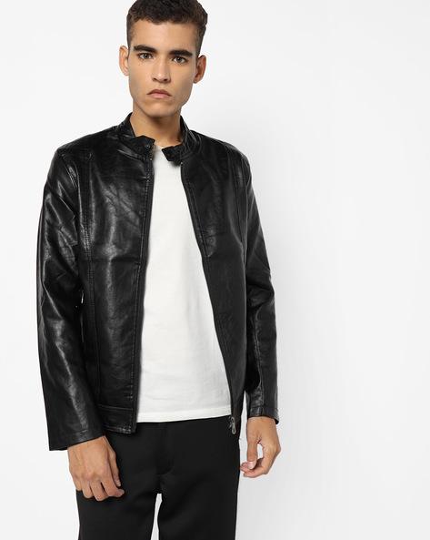 Slim Fit Biker Jacket By The Indian Garage Co ( Black ) - 460132107001
