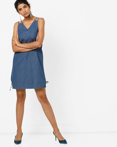 Sleeveless Denim Dress With Lace-Up Fastening By AJIO ( Darkblue )