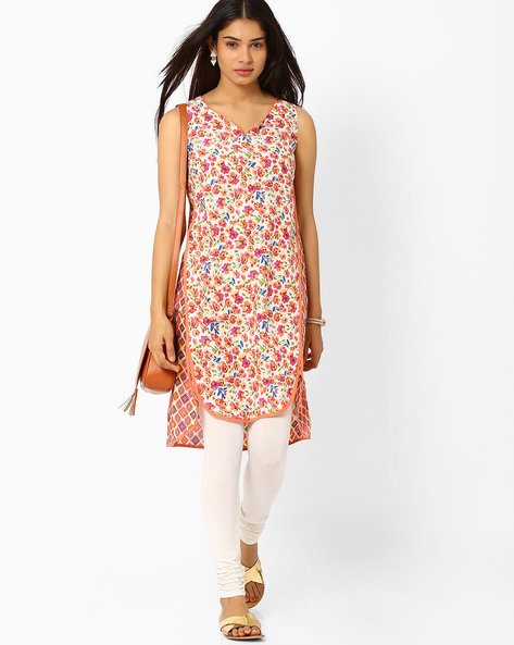 Printed High-Low Tunic By Biba ( Peach )