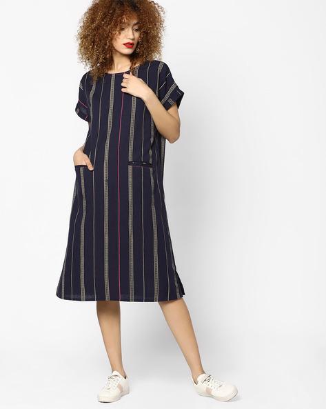 Striped Dress With Upturned Sleeve Hems By AJIO ( Blue )
