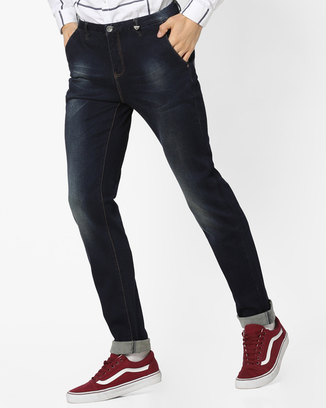 Slim Fit Lightly Washed Jeans By RexStraut JEANS ( Blue )