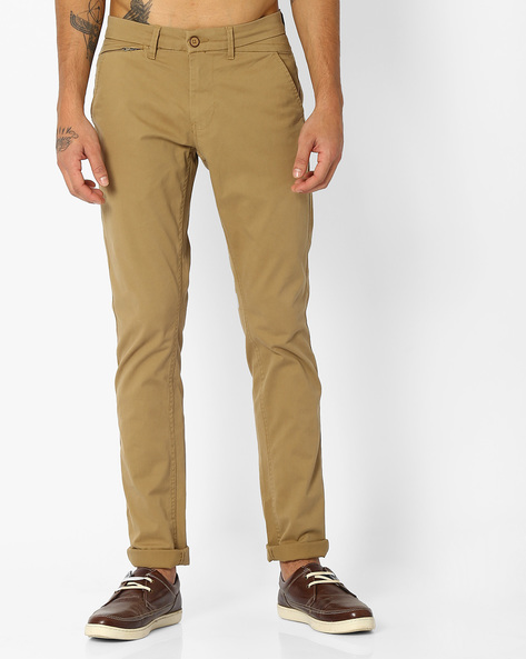 Tapered Fit Twill Chinos By NETPLAY ( Khaki )